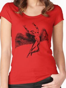 ICARUS THROWS THE HORNS - black Women's Fitted Scoop T-Shirt