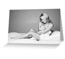 Beautiful Young Blonde Woman Wrapped in Sheets Greeting Card