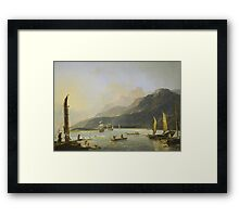 Resolution and Adventure with fishing craft in Matavai Bay, Tahiti, painted by William Hodges  Framed Print