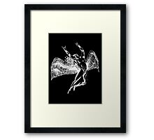 ICARUS THROWS THE HORNS - white Framed Print