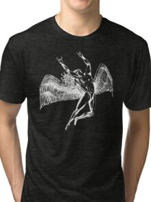 ICARUS THROWS THE HORNS - white Tri-blend T-Shirt