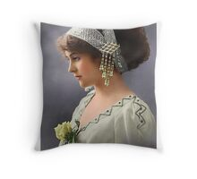 Colorized Vintage Young Beauty III Throw Pillow