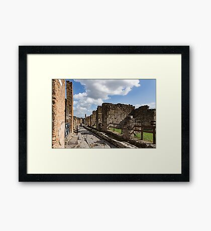 Walking Around Ancient Pompeii - Long Street With a Lone Tourist Framed Print