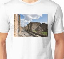 Walking Around Ancient Pompeii - Long Street With a Lone Tourist Unisex T-Shirt