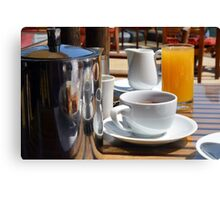 Coffee cup and orange juice breakfast drinks. Canvas Print