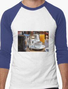 Coffee cup and orange juice breakfast drinks. Men's Baseball ¾ T-Shirt