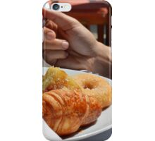 Man eating breakfast, plate with croissant, omelette, bread. iPhone Case/Skin