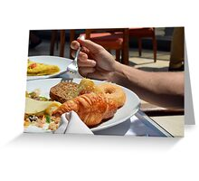 Man eating breakfast, plate with croissant, omelette, bread. Greeting Card