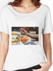 Man eating breakfast, plate with croissant, omelette, bread. Women's Relaxed Fit T-Shirt