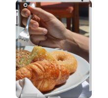 Man eating breakfast, plate with croissant, omelette, bread. iPad Case/Skin