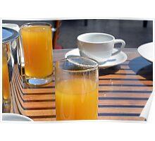 Coffee cup and orange juice breakfast drinks. Poster