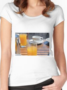 Coffee cup and orange juice breakfast drinks. Women's Fitted Scoop T-Shirt