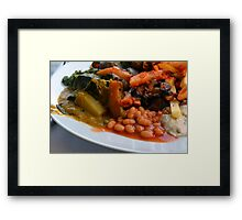 Lunch full plate with beans, vegetables, pasta. Framed Print