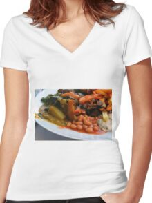 Lunch full plate with beans, vegetables, pasta. Women's Fitted V-Neck T-Shirt