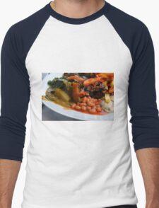 Lunch full plate with beans, vegetables, pasta. Men's Baseball ¾ T-Shirt