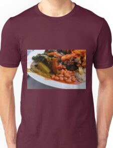 Lunch full plate with beans, vegetables, pasta. Unisex T-Shirt