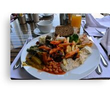 Lunch full plate with beans, vegetables, pasta. Canvas Print