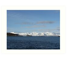 Winter Mountains in Norwegan Fjord  Art Print