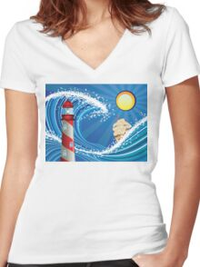 Lighthouse and Boat in the Sea Women's Fitted V-Neck T-Shirt