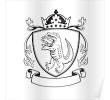 Alligator Standing Coat of Arms Black and White Poster