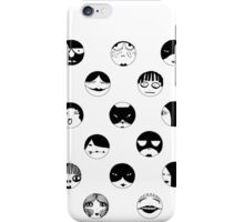 Black and White faces and masks iPhone Case/Skin