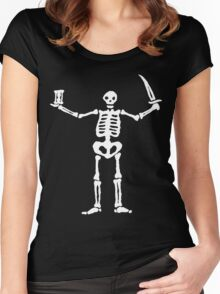 Black Sails Pirate Flag White Skeleton Women's Fitted Scoop T-Shirt