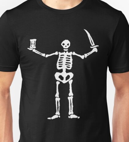 Black Sails Pirate Flag White Skeleton Unisex T-Shirt