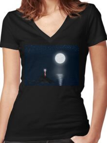 Lighthouse and Full Moon Women's Fitted V-Neck T-Shirt