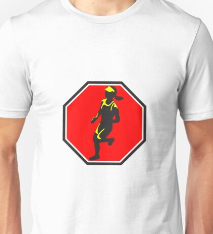 Female Marathon Runner Octagon Retro Unisex T-Shirt