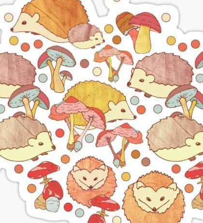 Woodland Hedgehogs - a pattern in soft neutrals  Sticker