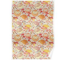 Woodland Hedgehogs - a pattern in soft neutrals  Poster