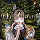 Forest Goddess with Predator Animals by plantiebee