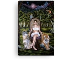 Forest Goddess with Predator Animals Canvas Print