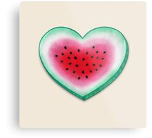 Summer Love - Watermelon Heart Metal Print