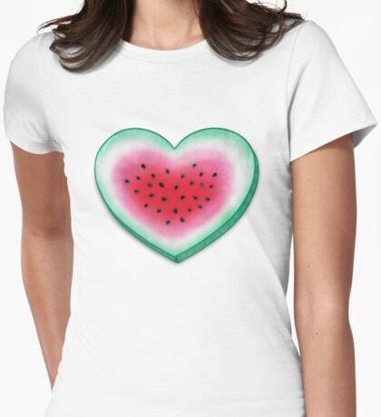 Summer Love - Watermelon Heart Womens Fitted T-Shirt