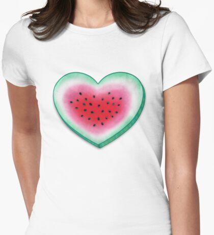 Summer Love - Watermelon Heart Womens Fitted T-Shirt