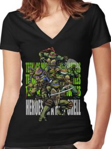 TURTLE POWER! Women's Fitted V-Neck T-Shirt