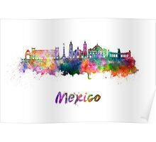 Mexico City skyline in watercolor Poster