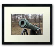 medieval bronze cannon front view Framed Print