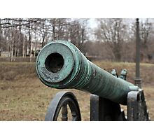 medieval bronze cannon front view Photographic Print