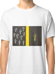 Concept image with road marking yellow line  Classic T-Shirt