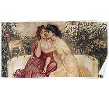 Sappho and Erinna in a Garden at Mytilene -  Simeon Solomon - 1864 Poster