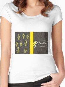 Finding the Solution concept image Women's Fitted Scoop T-Shirt