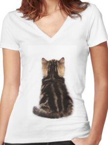 Striped cute fluffy kitten Women's Fitted V-Neck T-Shirt