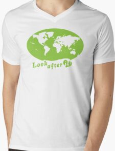 THE WORLD look after it! with heart (in green) Mens V-Neck T-Shirt
