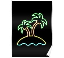 Neon Tropical Island Poster