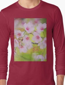 Pale Pink Sakura Cherry Blossoms Vintage Paper Textures Long Sleeve T-Shirt