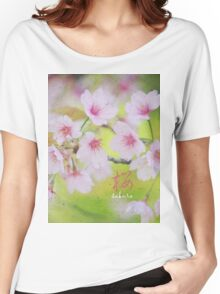 Pale Pink Sakura Cherry Blossoms Vintage Paper Textures Women's Relaxed Fit T-Shirt