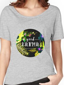 Good Karma Mantra Tropical Flowers Jungle Inverted Women's Relaxed Fit T-Shirt