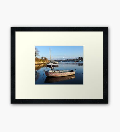 Happy Reflections Of An Old Red Boat Framed Print